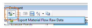 raw data export for material flows